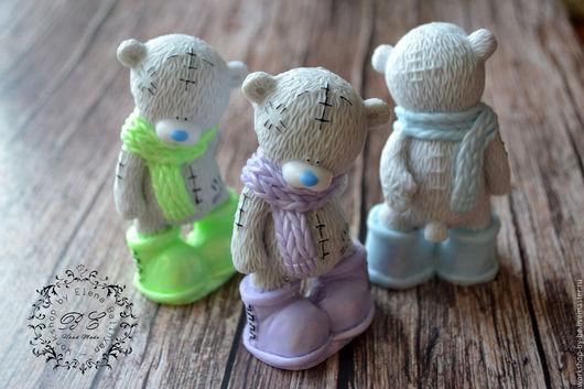 Мыло ручной работы. Ярмарка Мастеров - ручная работа. Купить Мишка Тедди в шарфике. Handmade. Бледно-розовый, Сапожки, украшения