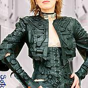 Одежда handmade. Livemaster - original item Leather women`s Bolero and lace-up Corset. Cyberpunk suit. Handmade.