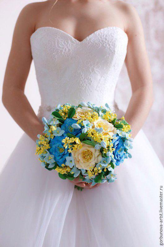 Свадебный букет, букет для свадьбы,выполнен ручную мастером керамо-флористом, каждый элемент выполнен в ручную!