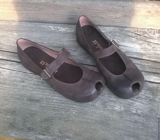Обувь ручной работы. Ярмарка Мастеров - ручная работа. Купить Туфельки из нубука КОФЕЙНОЕ ЗЕРНО-2. Handmade. Коричневый, туфельки