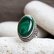"""Царское кольцо (перстень) с малахитом """"Духовная сила"""""""