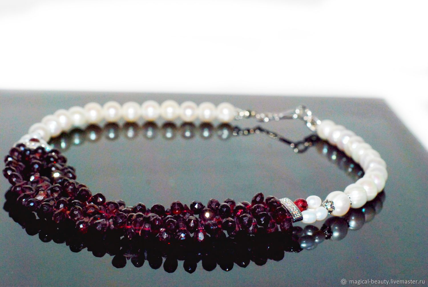 Necklace with pearl and garnet, Necklace, Moscow,  Фото №1
