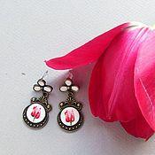 """Свадебный салон ручной работы. Ярмарка Мастеров - ручная работа серьги """"Розовые тюльпаны"""". Handmade."""
