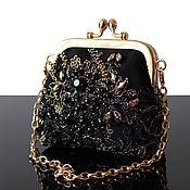 Сумки и аксессуары handmade. Livemaster - original item Wallets: Black Small Evening Bag with Embroidery. Handmade.