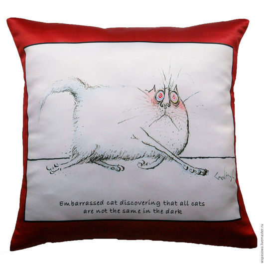 Текстиль, ковры ручной работы. Ярмарка Мастеров - ручная работа. Купить Прикольная декоративная подушка Кот-16. Handmade.