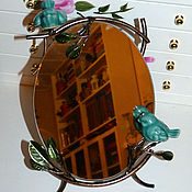 Для дома и интерьера ручной работы. Ярмарка Мастеров - ручная работа Зеркало настольное Бирюзовые Птички. Handmade.