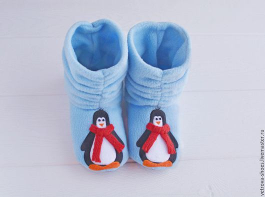 """Обувь ручной работы. Ярмарка Мастеров - ручная работа. Купить Домашние сапожки """"Пингвины"""". Handmade. Домашние тапочки, пингвин"""