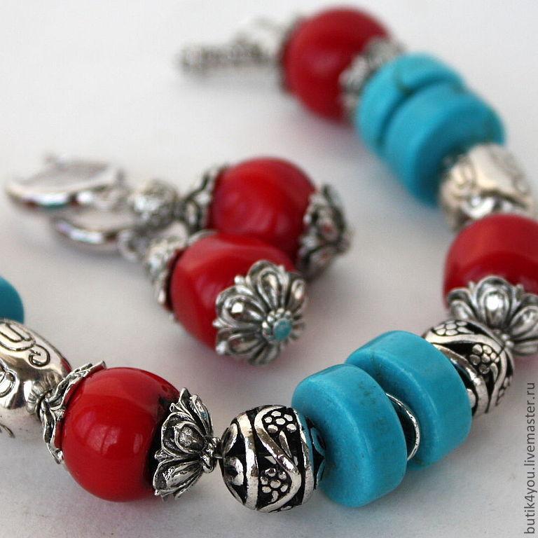 Серьги и браслет из бирюзы
