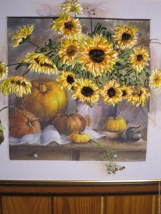 """Картины цветов ручной работы. Ярмарка Мастеров - ручная работа. Купить картина вышитая лентами""""Хеллоуин"""". Handmade. Желтый, цветы, осень"""