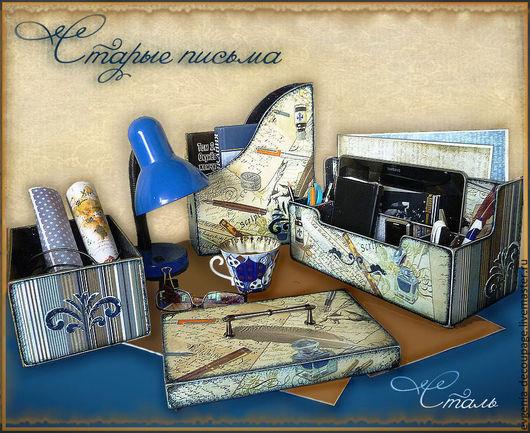 """Письменные приборы ручной работы. Ярмарка Мастеров - ручная работа. Купить """"Старые письма""""-набор для письменного стола. Handmade. письмена"""