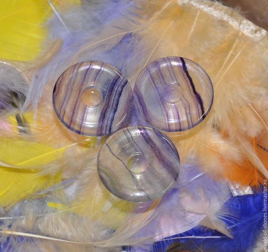 Для украшений ручной работы. Ярмарка Мастеров - ручная работа. Купить Флюорит диск, 40 х 10. Handmade. Разноцветный