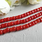 Материалы для творчества handmade. Livemaster - original item Coral Tulip bead 9 x 6mm red(art. 2155). Handmade.