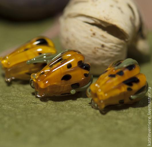 """Для украшений ручной работы. Ярмарка Мастеров - ручная работа. Купить Бусины-бутоны """"Тигровая лилия"""". Handmade. Желтый"""