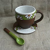 """Посуда ручной работы. Ярмарка Мастеров - ручная работа чашка с блюдцем """"Ромашки"""". Handmade."""