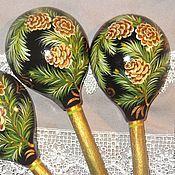 Русский стиль handmade. Livemaster - original item Wooden spoons Painted wood Spoon Spruce branches. Handmade.