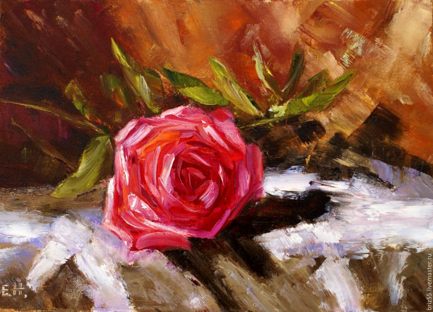 Oil painting rose, Pictures, Zelenograd,  Фото №1