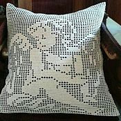 "Pillow handmade. Livemaster - original item Наволочка вязаная крючком ""Ангел"". Handmade."