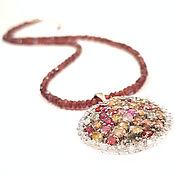 Украшения handmade. Livemaster - original item Silver pendant with sapphires, garnet necklace. Handmade.