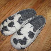 """Обувь ручной работы. Ярмарка Мастеров - ручная работа Тапочки из шерсти """"Почти Долматин"""". Handmade."""