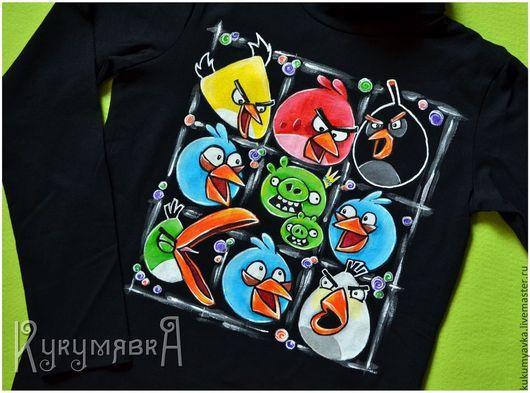 Футболки, майки ручной работы. Ярмарка Мастеров - ручная работа. Купить Angry Birds. Ручная роспись футболки.. Handmade. Рисунок