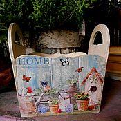 """Для дома и интерьера ручной работы. Ярмарка Мастеров - ручная работа Лукошко """"Home"""" - для кухни сухарница кашко декупаж. Handmade."""