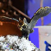 Подарки ручной работы. Ярмарка Мастеров - ручная работа Фигурка сова бронзовая статуэтка филин из металла миниатюра сувенир. Handmade.