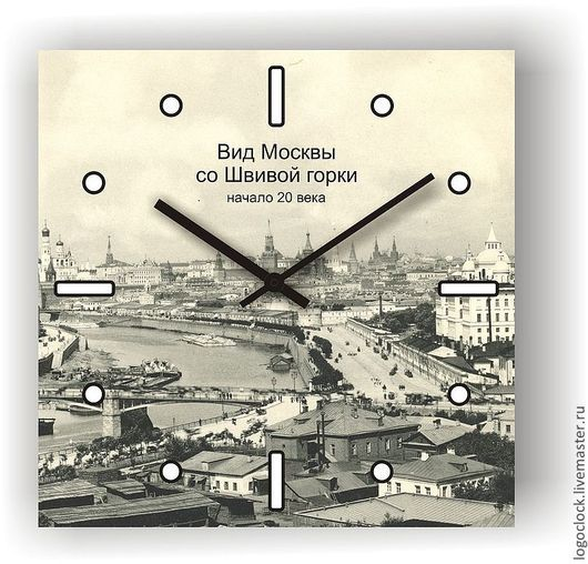 """Часы для дома ручной работы. Ярмарка Мастеров - ручная работа. Купить Настенные часы...""""Вид Москвы со Швивой горки"""". Handmade."""