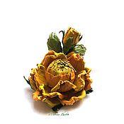Цветы и флористика handmade. Livemaster - original item Rose leather - Chartreuse. Handmade.