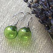 Украшения handmade. Livemaster - original item earrings of spring greens from hand-blown beads . lampwork .. Handmade.