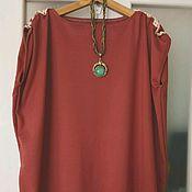 Одежда ручной работы. Ярмарка Мастеров - ручная работа Бохо блузка-разлетайка Терракотовый трикотаж. Handmade.