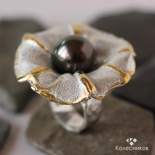 """Кольца ручной работы. Ярмарка Мастеров - ручная работа. Купить Кольцо """"Цветок"""". Handmade. Серый, жемчуг натуральный, морской жемчуг"""