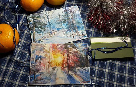 Открытки к Новому году ручной работы. Ярмарка Мастеров - ручная работа. Купить Набор авторских открыток. Handmade. для родных