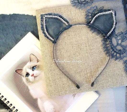 Диадемы, обручи ручной работы. Ярмарка Мастеров - ручная работа. Купить Кошачьи ушки на ободке. Handmade. Голубой, ушки кошки