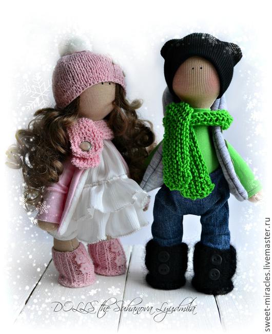 Коллекционные куклы ручной работы. Ярмарка Мастеров - ручная работа. Купить Влюбленная пара. Handmade. Розовый, джинс, кукла текстильная