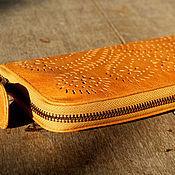 Сумки и аксессуары handmade. Livemaster - original item Wallet leather with embossed pattern. Handmade.