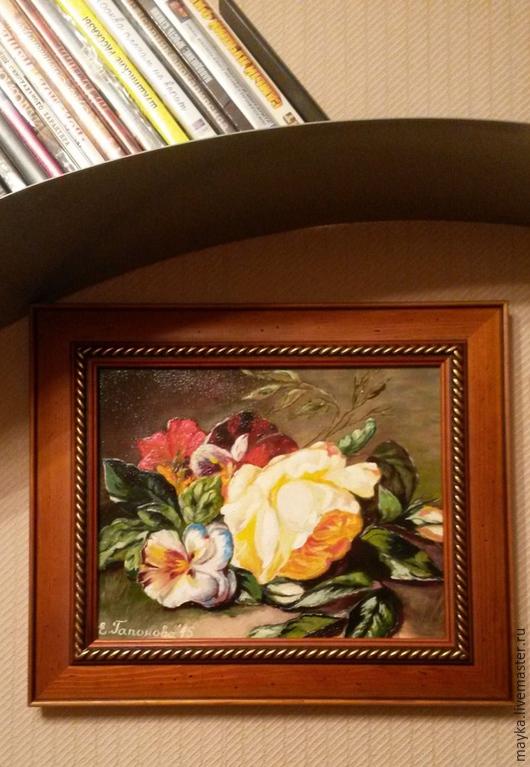 """Картины цветов ручной работы. Ярмарка Мастеров - ручная работа. Купить Картина """"Роза и Виолы"""". Handmade. Разноцветный, Живопись, роза"""
