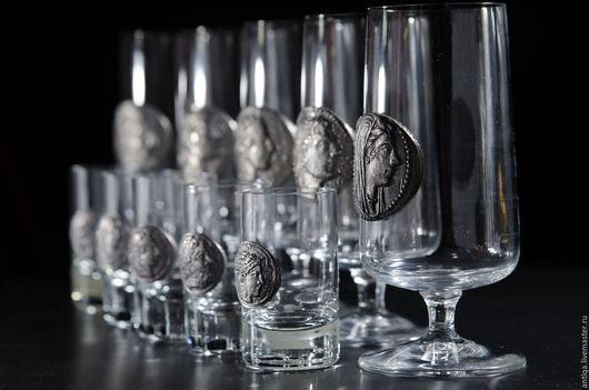 Винтажная посуда. Ярмарка Мастеров - ручная работа. Купить Стеклянные стаканы Rastal. Handmade. Серебряный, винтажные рюмки, стекло
