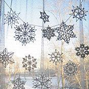 Подарки к праздникам handmade. Livemaster - original item Snowflake knitted 10 PCs. Christmas decor for the home. Handmade.