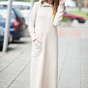 Одежда handmade. Livemaster - original item Fashionable dress with a hood and long sleeves - DR0148CK. Handmade.