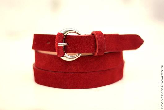 Пояса, ремни ручной работы. Ярмарка Мастеров - ручная работа. Купить Замшевый красный ремень, женский ремень, кожаный ремень, пояс. Handmade.