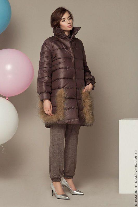Верхняя одежда ручной работы. Ярмарка Мастеров - ручная работа. Купить Коричневое пальто с мехом.. Handmade. Коричневый, пальто женское