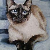 Картины и панно handmade. Livemaster - original item Oil painting Thai cat. Handmade.