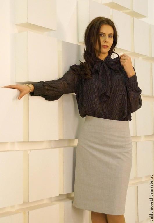 Блузки ручной работы. Ярмарка Мастеров - ручная работа. Купить Блуза из натурального шелкового шифона. Handmade. Коричневый, блузка
