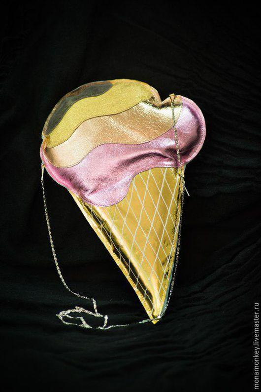 """Женские сумки ручной работы. Ярмарка Мастеров - ручная работа. Купить Клатч """"Мороженое"""". Handmade. Золотой, мороженое, Металлик"""