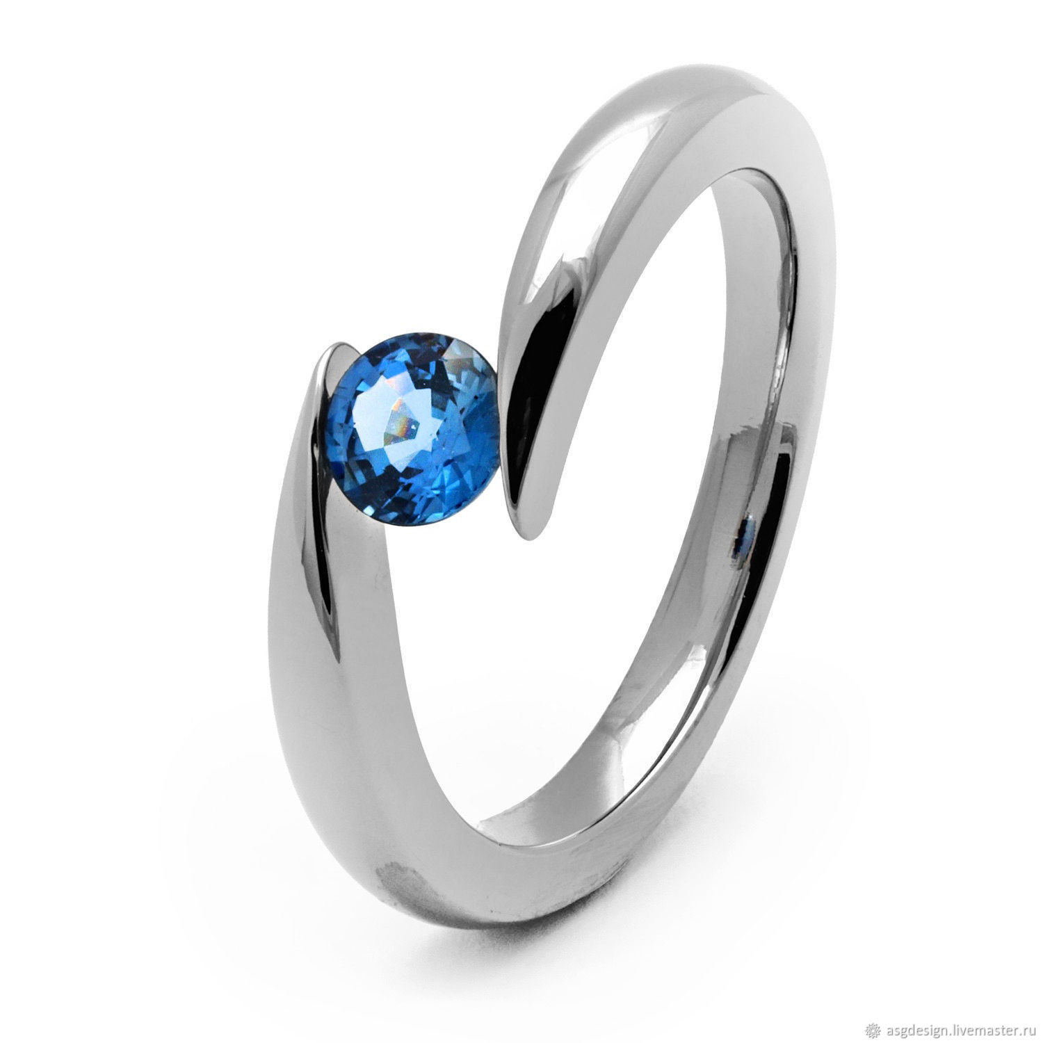 Titanium ring with sapphire, Rings, Moscow,  Фото №1