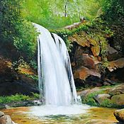 Картины и панно handmade. Livemaster - original item The picture Waterfall landscape oil. Handmade.