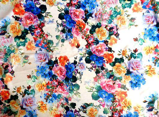 """Шитье ручной работы. Ярмарка Мастеров - ручная работа. Купить Плательная вискоза """"Цветы"""". Handmade. Цветы, романтика, воздушный, распродажа"""