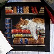 """Картины ручной работы. Ярмарка Мастеров - ручная работа """"Книголюб"""" вышивка крестом, картина. Handmade."""