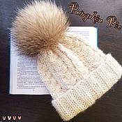 Аксессуары handmade. Livemaster - original item Hat with POM-POM of raccoon fur