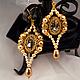 """Серьги ручной работы. Ярмарка Мастеров - ручная работа. Купить Золотые серьги """"Венецианские зеркала"""" с жемчугом и кристаллами. Handmade."""